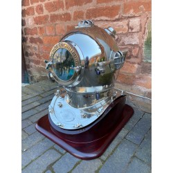 Large Aluminium Divers Helmet with Wooden Stand - Silver