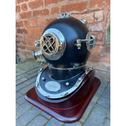 Large Aluminium Divers Helmet with Wooden Stand - Black
