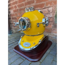 Large Aluminium Divers Helmet with Wooden Stand - Yellow