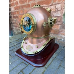 Large Aluminium Divers Helmet with Wooden Stand - Copper