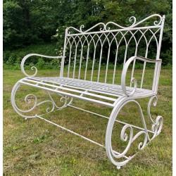Cream Garden Rocking Bench Seat - Iron Metal