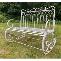 Grey Garden Rocking Bench Seat - Iron Metal