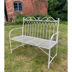 Cream Garden Bench Seat Chair - Iron - Outdoor - 2 Seater - Gothic Style Back