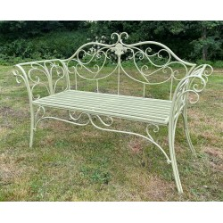 Green Garden Bench Seat Chair - Iron - Outdoor - 2 Seater - Ornate Style Scrolls