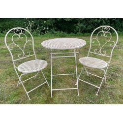 Garden Furniture Iron Bistro Set - Table & 2 Chairs - Vintage Cream