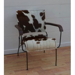Cowhide Leather Chair Black/White