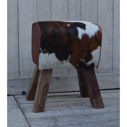 Cowhide 'Hair On' Pommel Horse Style Leather Footstool / Sidestool
