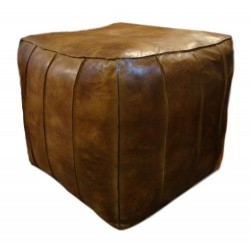 Leather Cubed Pouffe