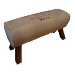 Pommel Horse Style Canvas Bench Seat with Paris Print