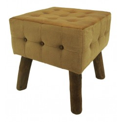 Chesterfield Style Leather & Canvas Buttoned Stool