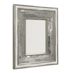 Large Rectangular Silver Mosaic Wall Mirror