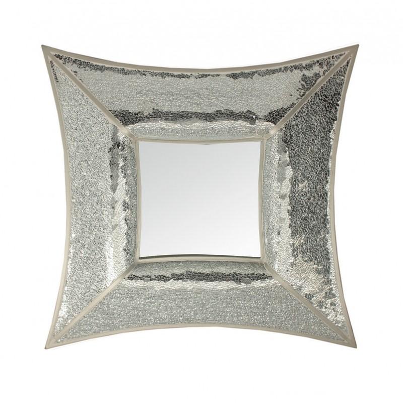 Curved Square Silver Mosaic Wall Mirror Blackbrook Interiors