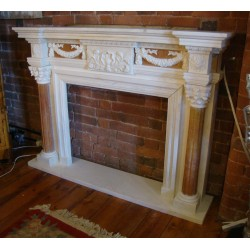 Georgian Style Hand Carved Solid Marble Fireplace Surround Chimneypiece w/Hearth