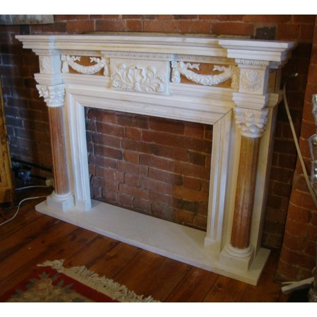 Georgian Style Hand Carved Solid Marble Fireplace Surround