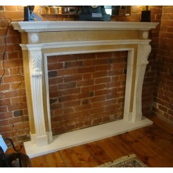 Hand Carved Solid Marble Neo Classical Antique Style Fireplace Surround w/Hearth