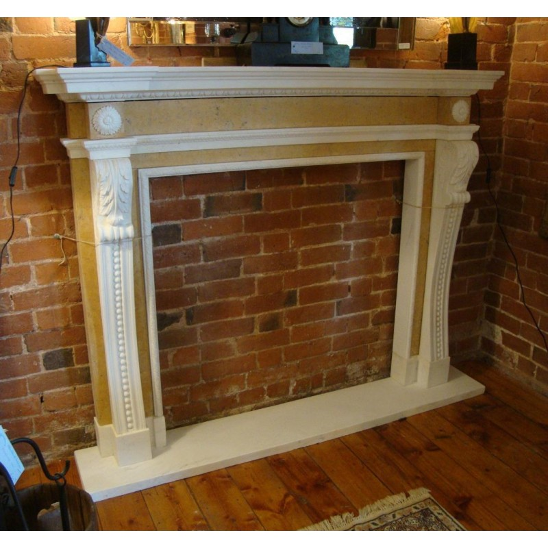 Hand Carved Solid Marble Neo Classical Antique Style Fireplace Surround W Hearth
