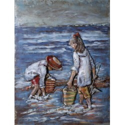 Children at the Seaside 3D Metal Wall Art