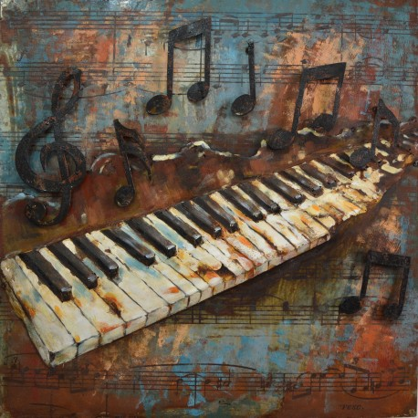 Piano Keys And Musical Notes 3d Metal Wall Art