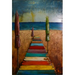 Beach Walkway and Umbrellas 3D Metal Wall Art