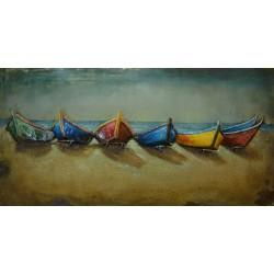 Colourful Boats Metal Wall Art
