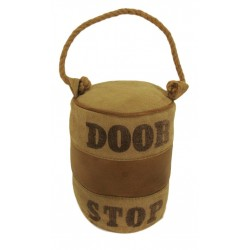 Round Leather & Canvas Doorstop with Rope Handle