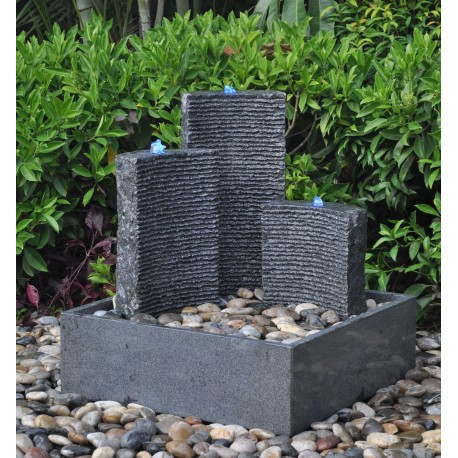Contemporary Granite Water Fountain - 78cm High - Triple Design - Self Contained