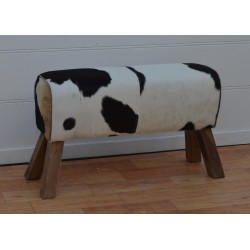 Cowhide Hair on Leather Bench / Stool - Pommel Horse Style Wood Legs - 90cm Long