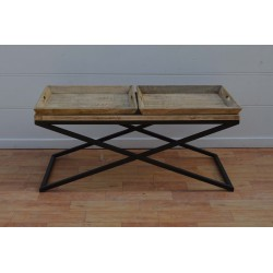 Wooden Coffee Table with Removable Trays