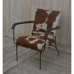 Cowhide Leather Chair Tan/White