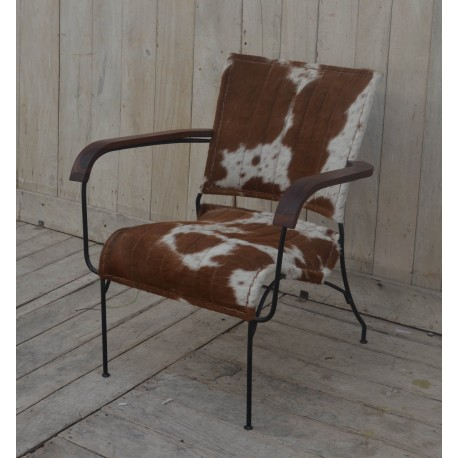 Cowhide Leather Chair Tan/White