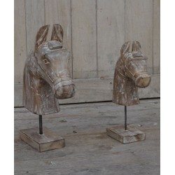 Set of Two Wooden Horses on Stands