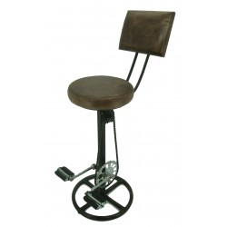 Retro Recycled Bar Stool with Backrest