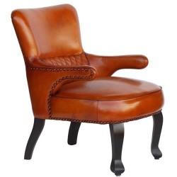 'Brummel' Queen Anne Style Leather Armchair in Chestnut Brown