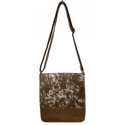 Cowhide Leather Handbag Tan/White