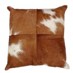 Cowhide Leather Cushion - Tan/White