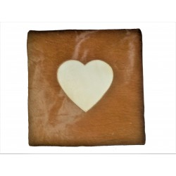 Heart Design Cowhide Leather Cushion - Tan/White