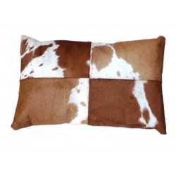 Cowhide Leather Cushion - Tan/White