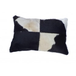Cowhide Leather Cushion - Black/White