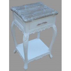 French Style One Drawer Bedside - White