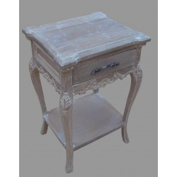 French Style One Drawer Bedside - Natural / Antique
