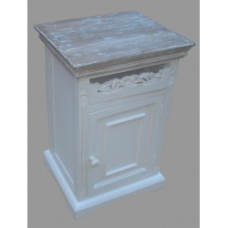 French Style One Drawer Bedside with Door - White