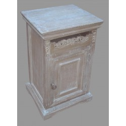 French Style One Drawer Bedside with Door - Natural / Antique