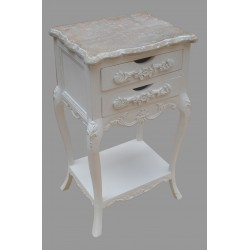 French Style Two Drawer Bedside - White
