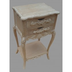 French Style Two Drawer Bedside - Natural/Antique