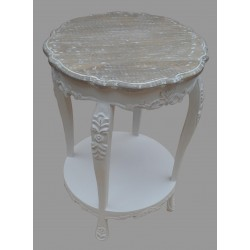 French Style Mango Wood Round Table - White