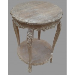 French Style Mango Wood Round Table - Natural / Antique