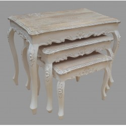 French Style Set of 3 Mango Wood Tables - White
