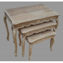 French Style Set of 3 Mango Wood Tables - Natural/Antique