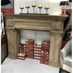 Large Solid Wood Fireplace Surround - Hand Painted Natural Finish