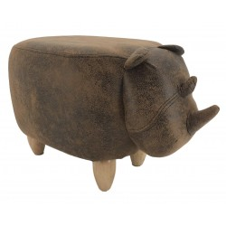 Faux Leather / Suede Rhino Footstool - Vintage Brown